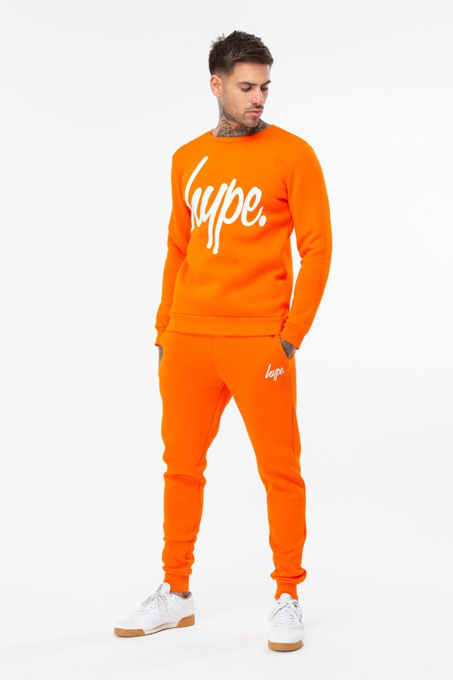 HYPE ORANGE WHITE SCRIPT MENS CREW NECK