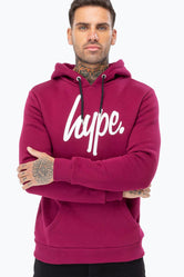 HYPE MULBERRY WHITE SCRIPT MENS PULLOVER HOODIE