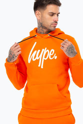 HYPE ORANGE WHITE SCRIPT MENS PULLOVER HOODIE
