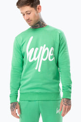 HYPE GREEN SCRIPT MENS CREW NECK