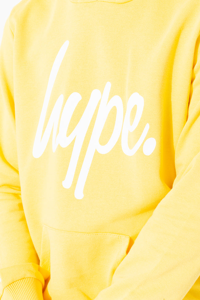 HYPE YELLOW HYPE SCRIPT KIDS PULLOVER HOODIE