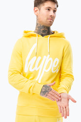 HYPE YELLOW SCRIPT MENS PULLOVER HOODIE