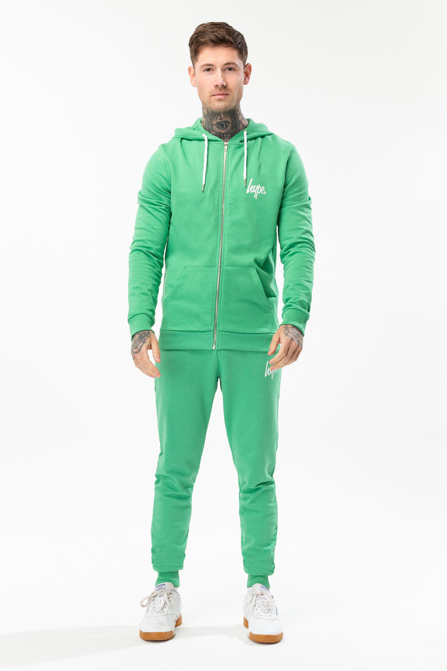 HYPE GREEN MINI SCRIPT MENS ZIP HOODIE