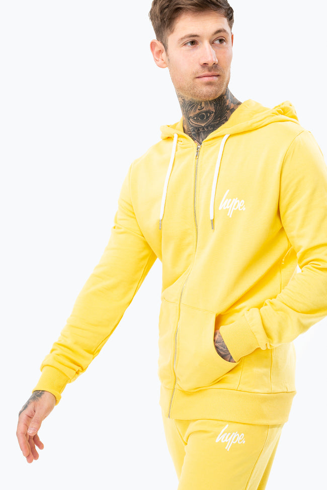 HYPE YELLOW MINI SCRIPT MENS ZIP HOODIE