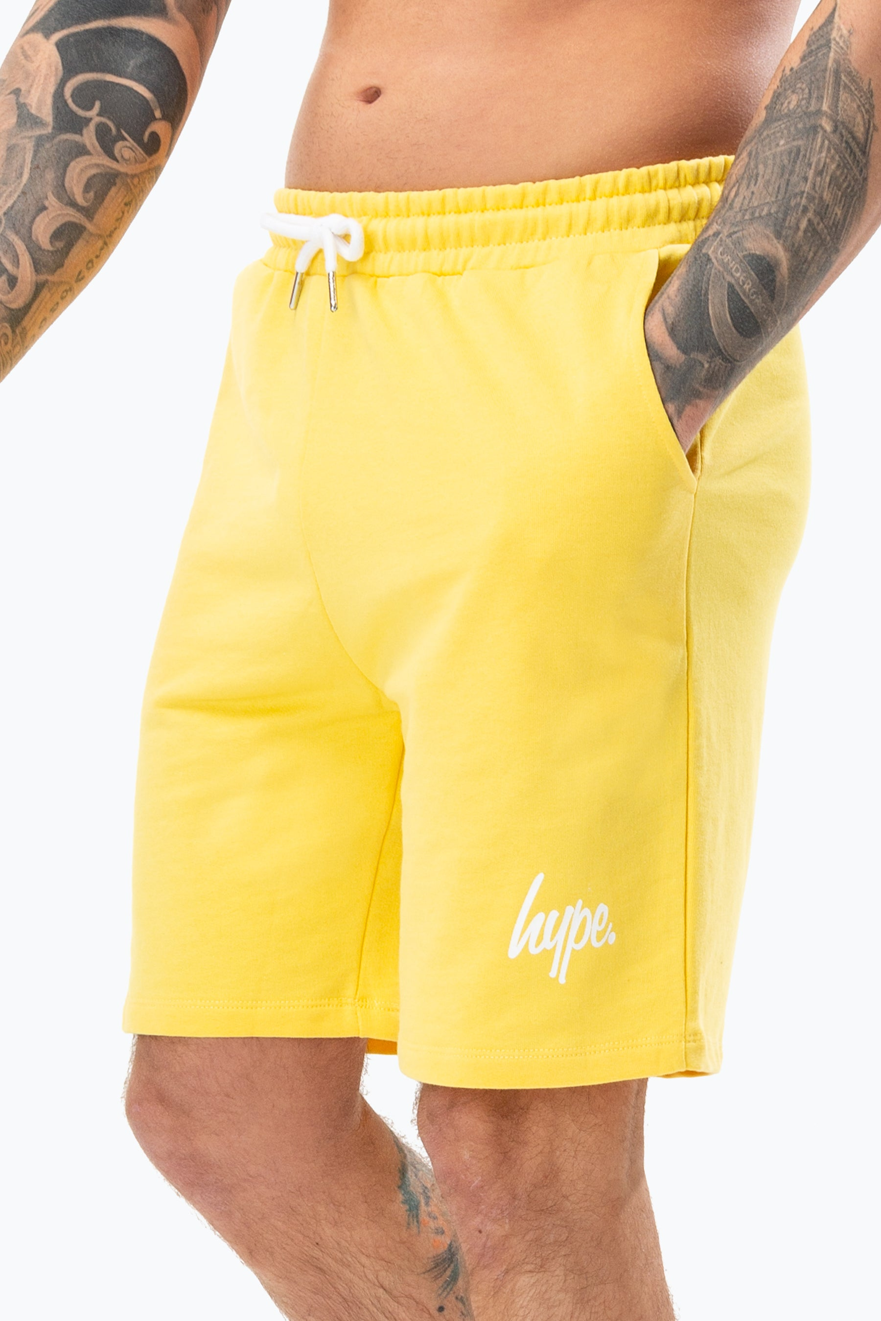 Hype Yellow Script Mens Shorts   Size X-Small