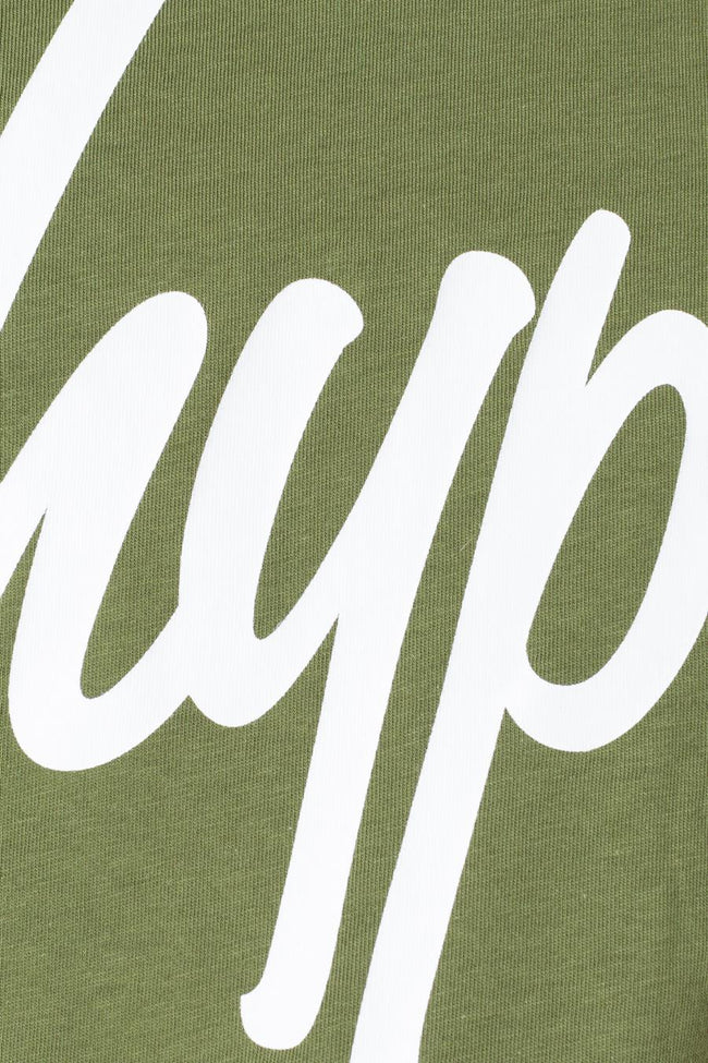Hype Khaki White Script Kids Crop T-Shirt