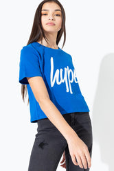 HYPE BLUE WHITE SCRIPT KIDS CROP T-SHIRT