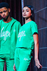 HYPE GREEN WHITE SCRIPT KIDS CROP T-SHIRT