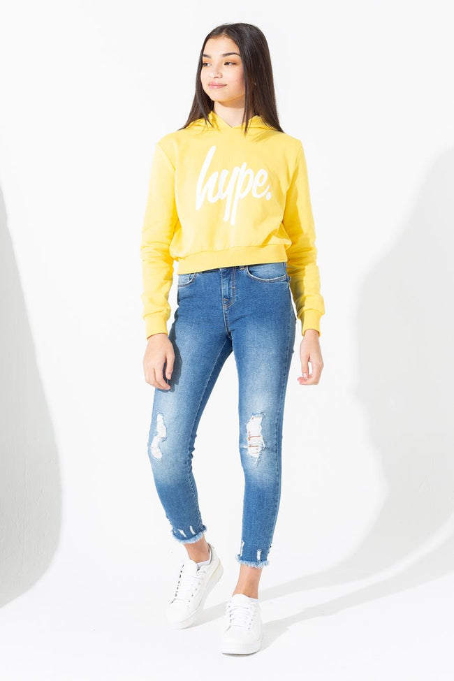 HYPE YELLOW WHITE SCRIPT KIDS CROP HOODIE