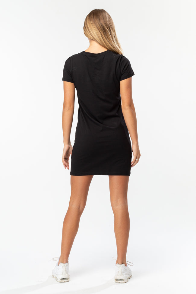 HYPE BLACK SCRIPT WOMENS T-SHIRT DRESS