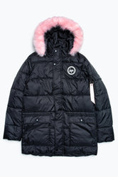 HYPE BLACK CREST PINK FUR KIDS EXPLORER JACKET