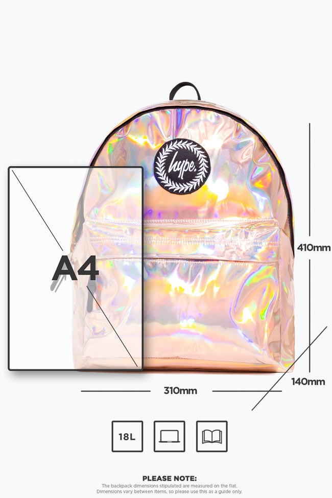 HYPE ROSE GOLD HOLOGRAPHIC BACKPACK