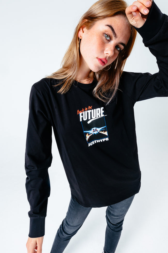 HYPE X BACK TO THE FUTURE BLACK GRAPHIC L/S T-SHIRT
