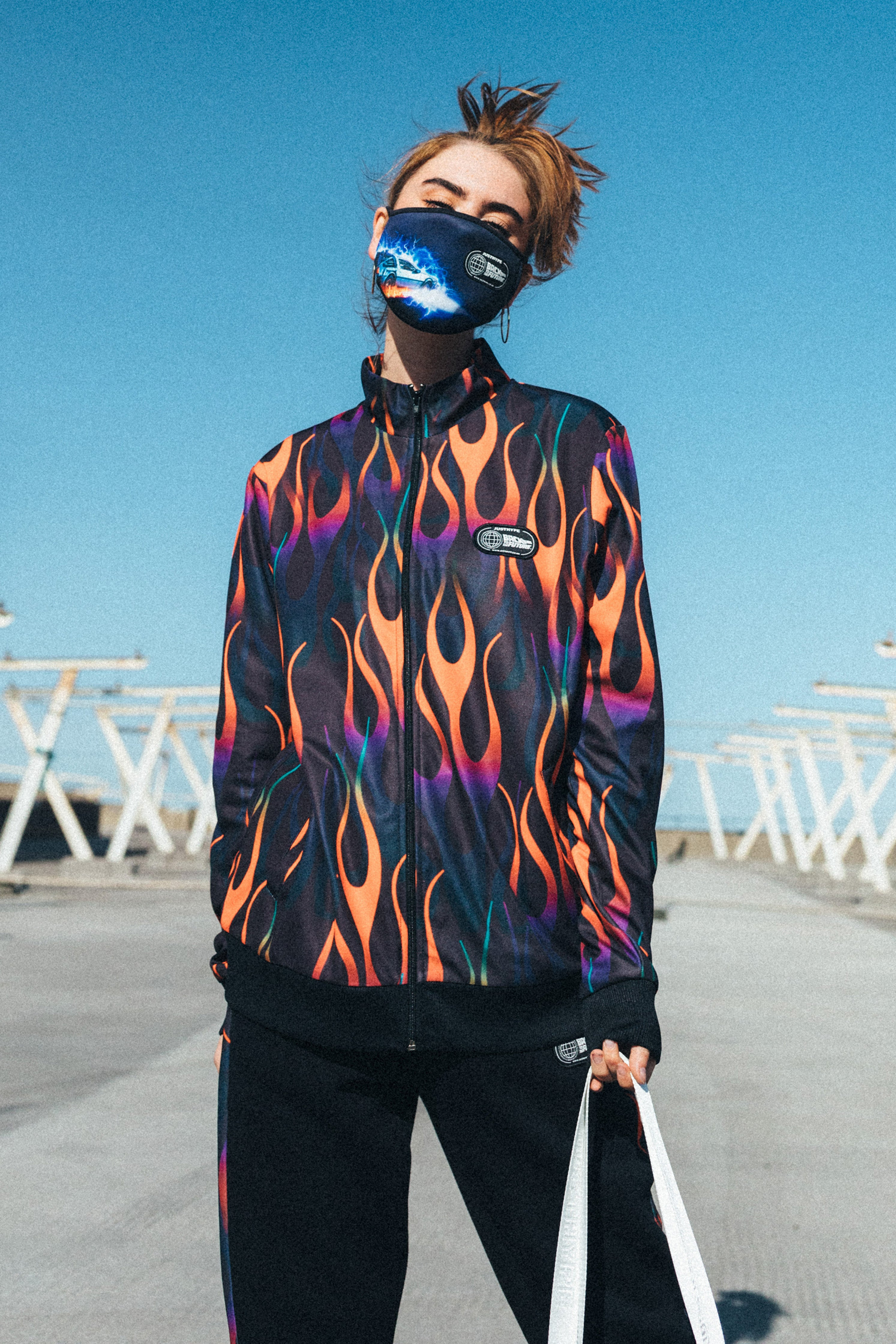 Hype X Back To The Future Black Flame High Neck Jacket | Size X-Small