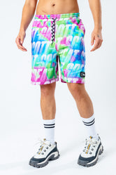 HYPE X BACK TO THE FUTURE NEON REPEAT LOGO SHORTS