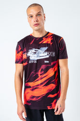 HYPE X BACK TO THE FUTURE BLACK FLAME T-SHIRT