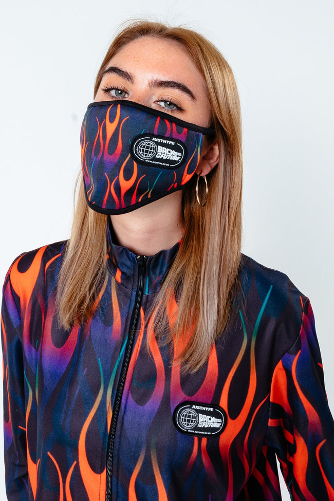 HYPE X BACK TO THE FUTURE BLACK FLAME ADULT FACE MASK
