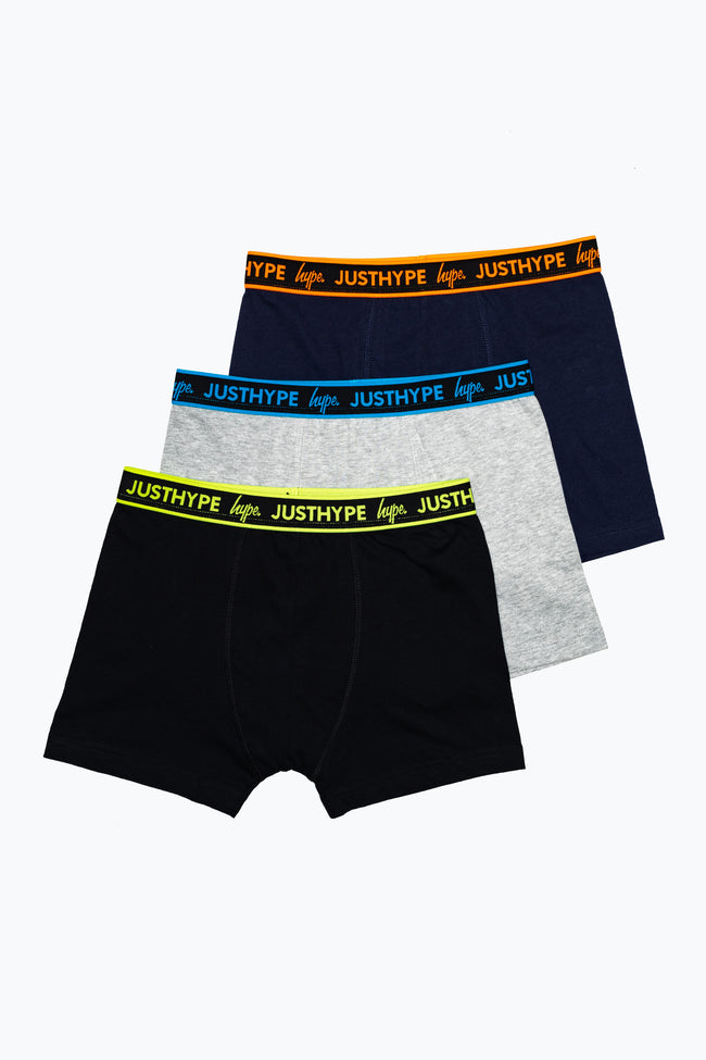 HYPE 3 PACK MULTICOLOURED KIDS BOXER SHORTS