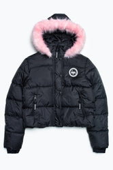 HYPE BLACK CREST KIDS CROP PADDED JACKET