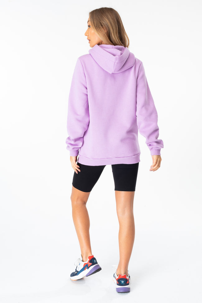 HYPE LILAC LEOPARD DRAWSTRING WOMEN'S PULLOVER HOODIE