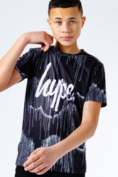 HYPE GRAYSCALE DRIPS REPEAT LOGO KIDS T-SHIRT