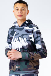 HYPE HALF CAMO DRIPS KIDS PULLOVER HOODIE