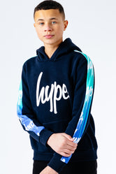 HYPE AQUA DRIPS REPEAT LOGO PANEL KIDS PULLOVER HOODIE