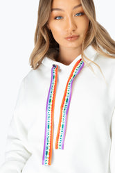 HYPE WHITE RAINBOW DRAWSTRING WOMEN'S PULLOVER HOODIE