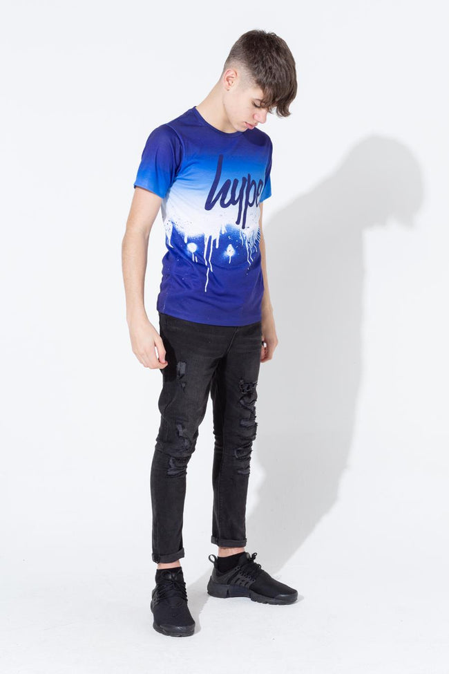HYPE BLUE DRIP FADE KIDS T-SHIRT
