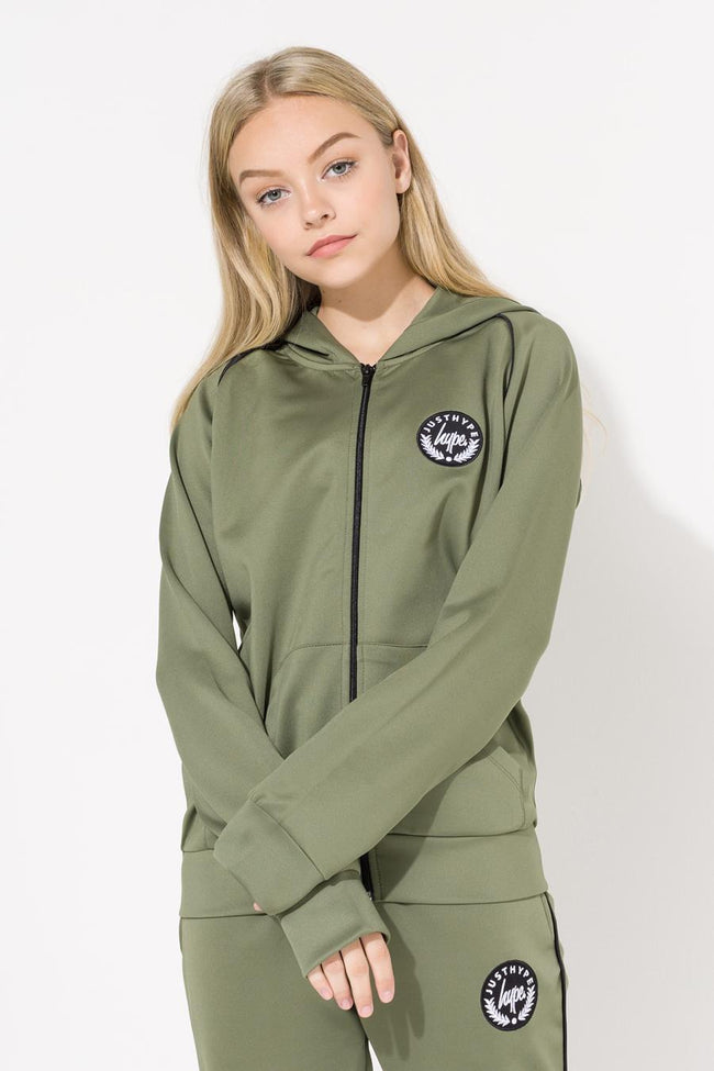 HYPE KHAKI CREST PIPING KIDS TRACK JACKET