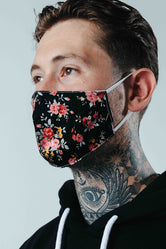 HYPE ADULT BLACK FLORAL ADJUSTABLE FACE MASK