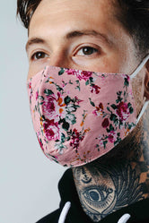 HYPE ADULT PINK FLORAL NUMBER ADJUSTABLE FACE MASK