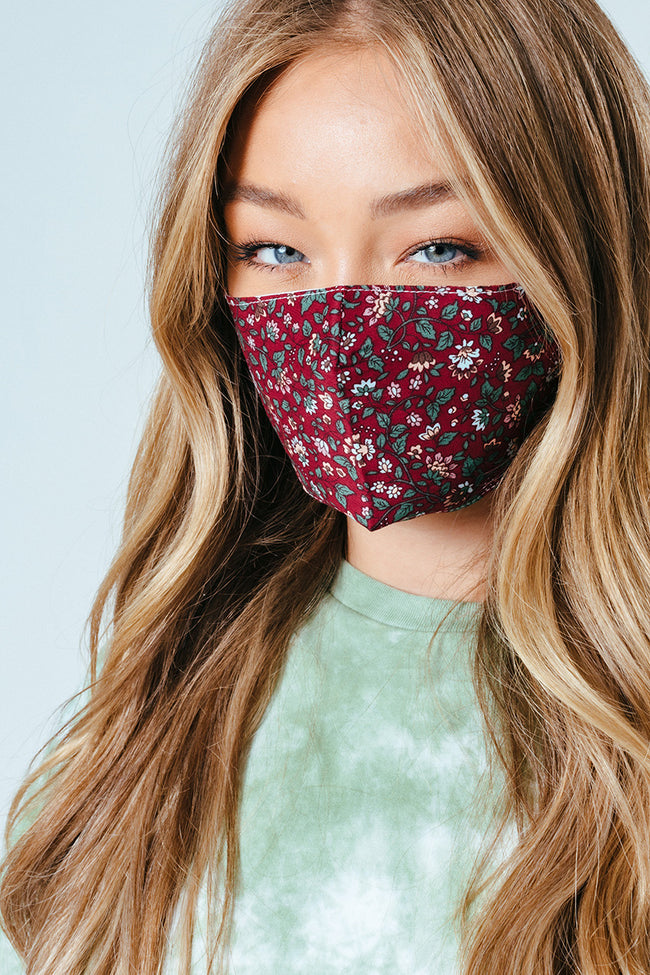 HYPE ADULT BURGUNDY FLORAL ADJUSTABLE FACE MASK