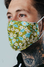 HYPE ADULT GREEN DAISY FLORAL ADJUSTABLE FACE MASK