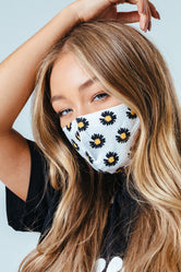 HYPE ADULT WHITE DAISY ADJUSTABLE FACE MASK