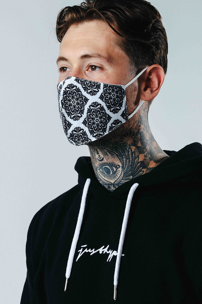 Hype Adult Mono Damask Pattern Adjustable Face Mask