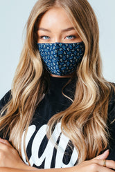 HYPE ADULT BLUE BEIGE PAISLEY ADJUSTABLE FACE MASK