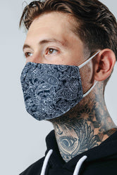 HYPE ADULT NAVY PAISLEY ADJUSTABLE FACE MASK