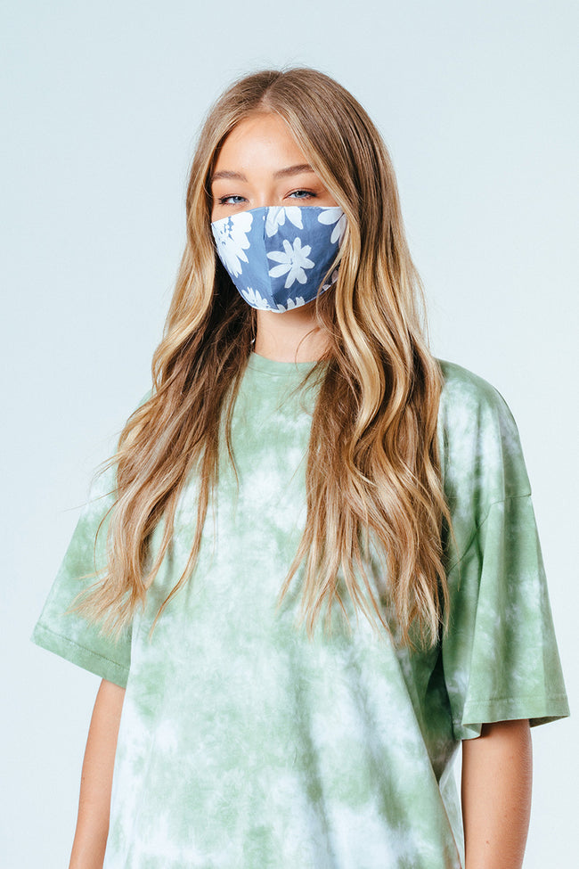 HYPE ADULT GREY BOLD FLORAL ADJUSTABLE FACE MASK