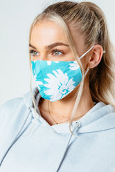 HYPE ADULT GREEN FLORAL ADJUSTABLE FACE MASK