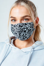 HYPE ADULT BLACK BOLD PAISLEY ADJUSTABLE FACE MASK