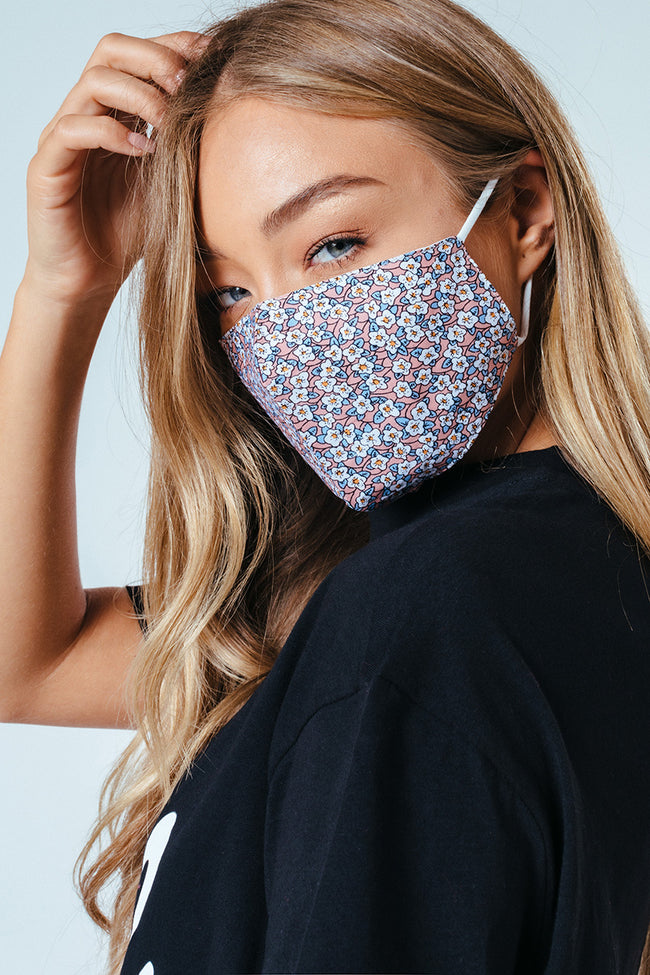 HYPE ADULT MINI PINK FLORAL ADJUSTABLE FACEMASK