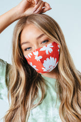 HYPE ADULT RED BOLD FLORAL ADJUSTABLE FACE MASK