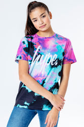 HYPE PINK & TEAL TIE DYE KIDS T-SHIRT