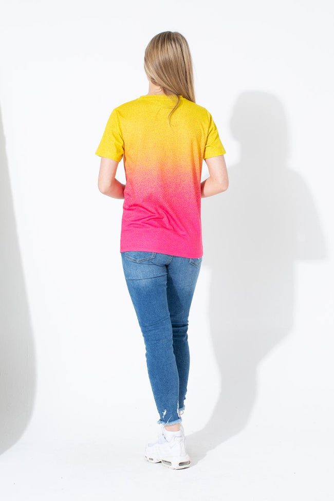 HYPE YELLOW PINK SPECKLE FADE KIDS T-SHIRT