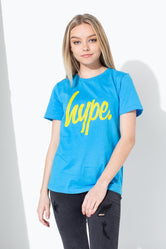 HYPE BLUE LARGE SCRIPT KIDS T-SHIRT