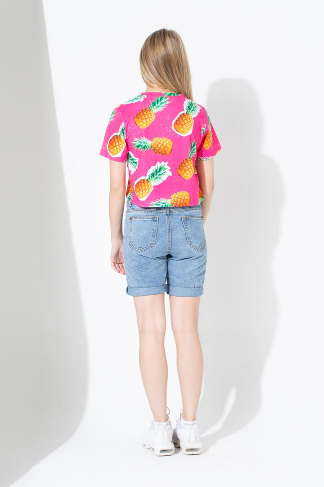 HYPE PINEAPPLE SCRIPT KIDS CROP T-SHIRT