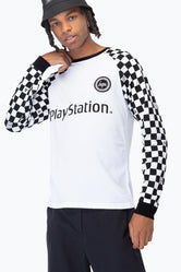 HYPE PLAYSTATION WHITE CHECKERBOARD MEN'S L/S T-SHIRT