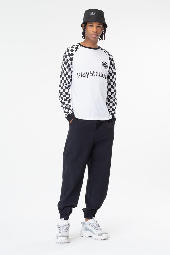HYPE PLAYSTATION WHITE CHECKERBOARD MENS L/S T-SHIRT