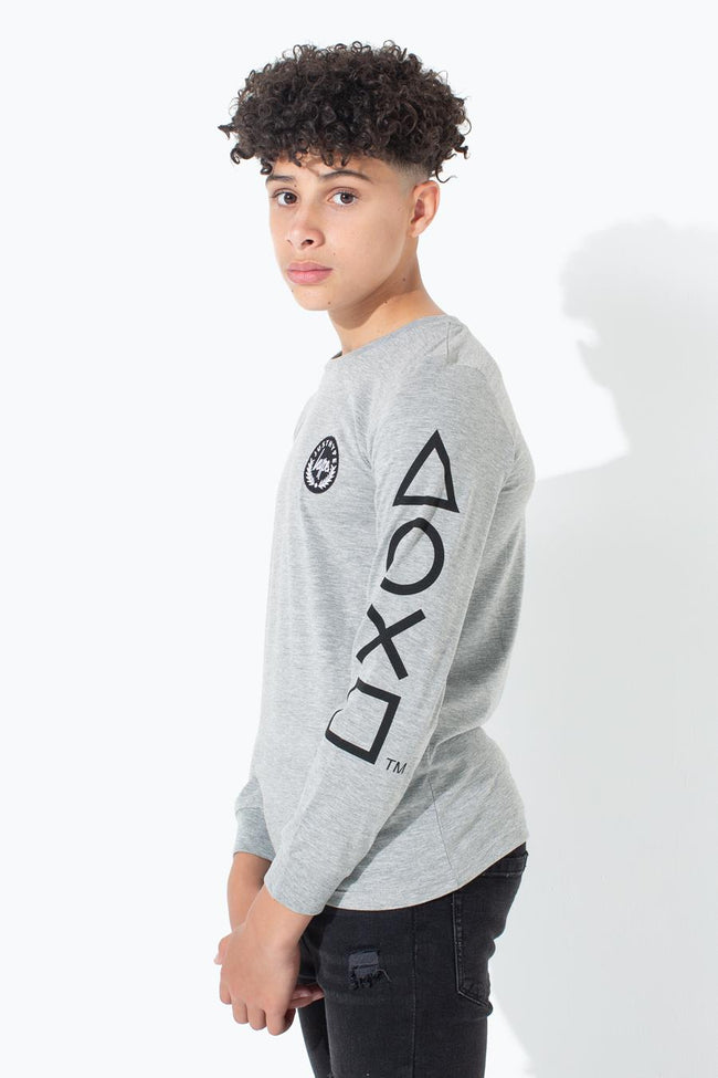 HYPE PLAYSTATION GREY CONTROLLER L/S KIDS T-SHIRT
